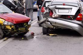 Two cars in fender bender