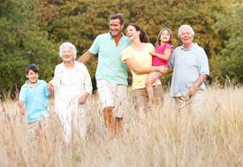 generational family in field