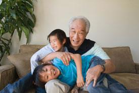 Grandpa playing with kids