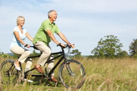 Older Couple on Tandem Bike