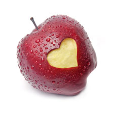 Apple with bit in the shape of a heart
