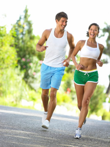 Man and woman running.