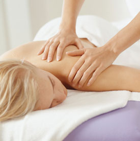 young woman having a massage close up