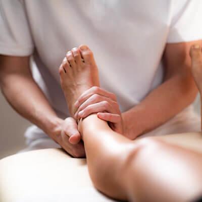 Holding patients leg