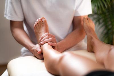 Patient getting foot massage