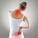 Woman with pain spots