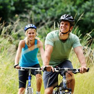 Husband and wife biking
