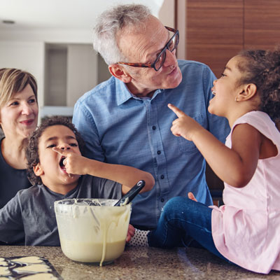 Family baking together