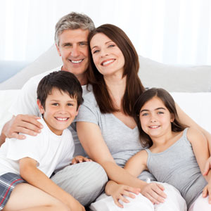 Happy, smiling family of four
