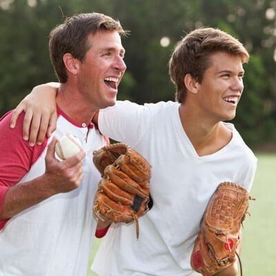 Guys with baseball gloves