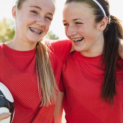 Teenage girls with braces