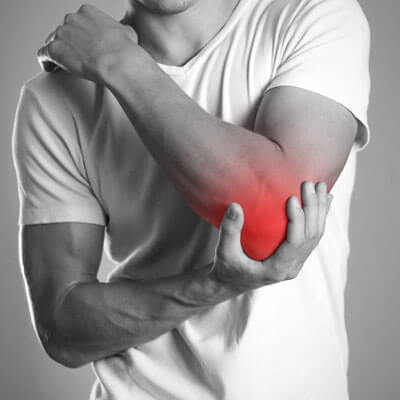 glowing red elbow pain
