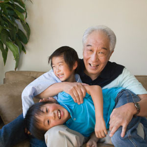 Children with their grandfather