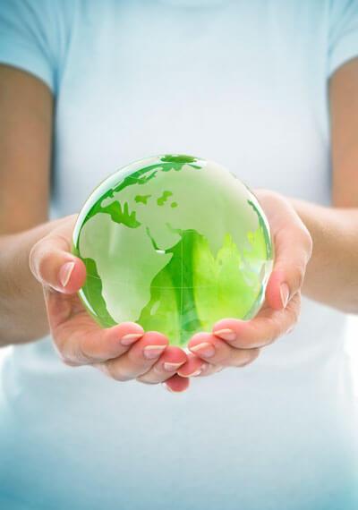 hands holding glob