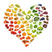 Heart-shaped arrangement of fruits and vegetables