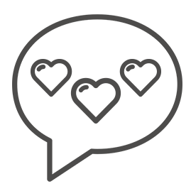 conversation bubble icon with three hearts inside