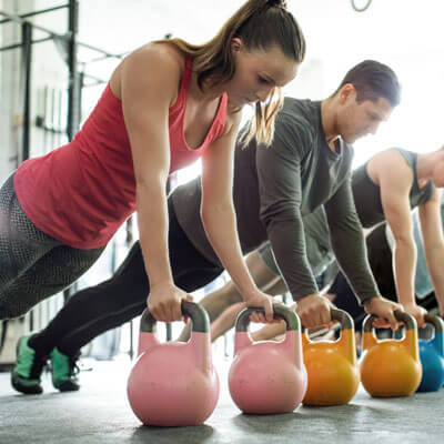 Workout class with kettle bells