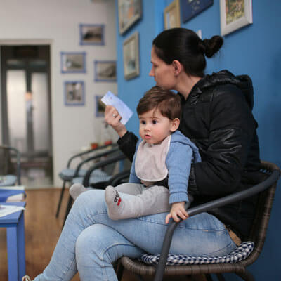 Mom and child in waiting room