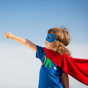 Kid in superhero outfit