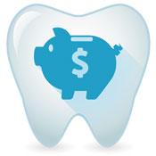 Illustration of piggy bank inside tooth