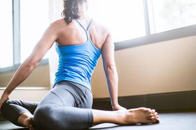 Woman stretching back