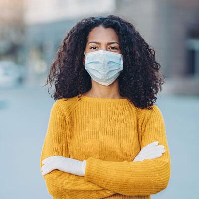 Woman wearing masks