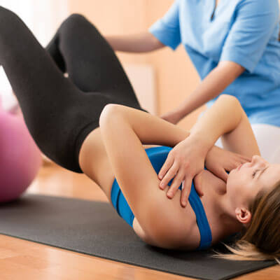 Woman doing physiotherapy