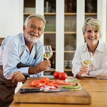 Old couple enjoying the food