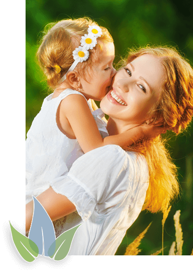 Woman and child smiling