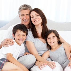 Smiling family photo