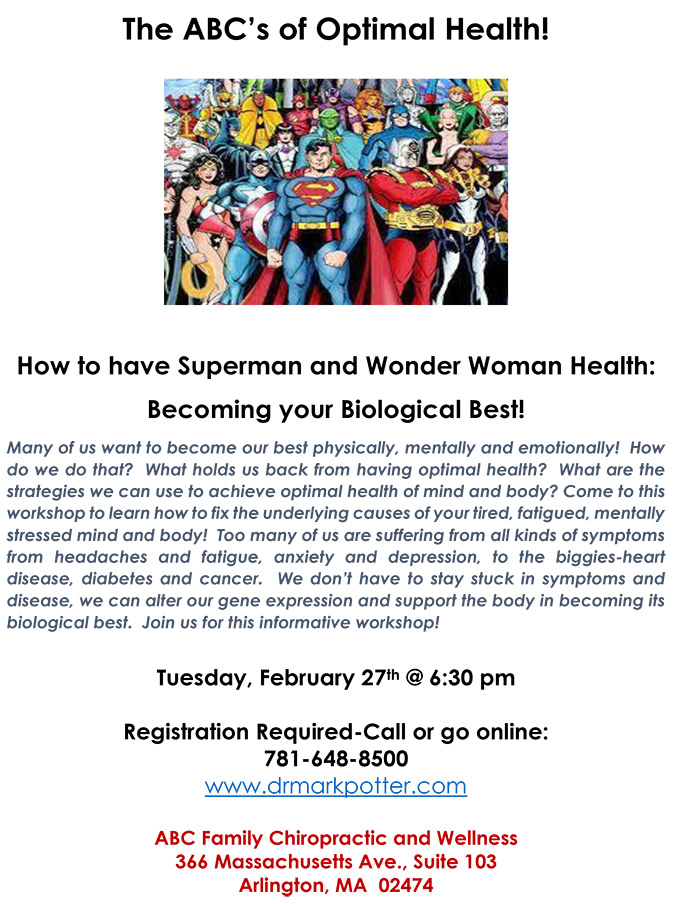Superman and Wonder Woman health flyer