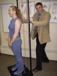 Dr Pat performing an examination.