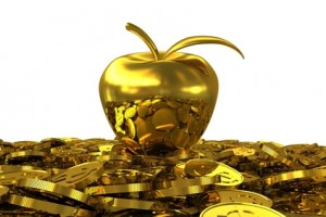 gold apple on the gold coins