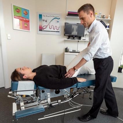 Patient chiropractic adjustment