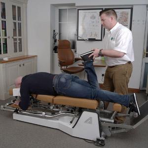 Chiropractor Drogheda checks leg