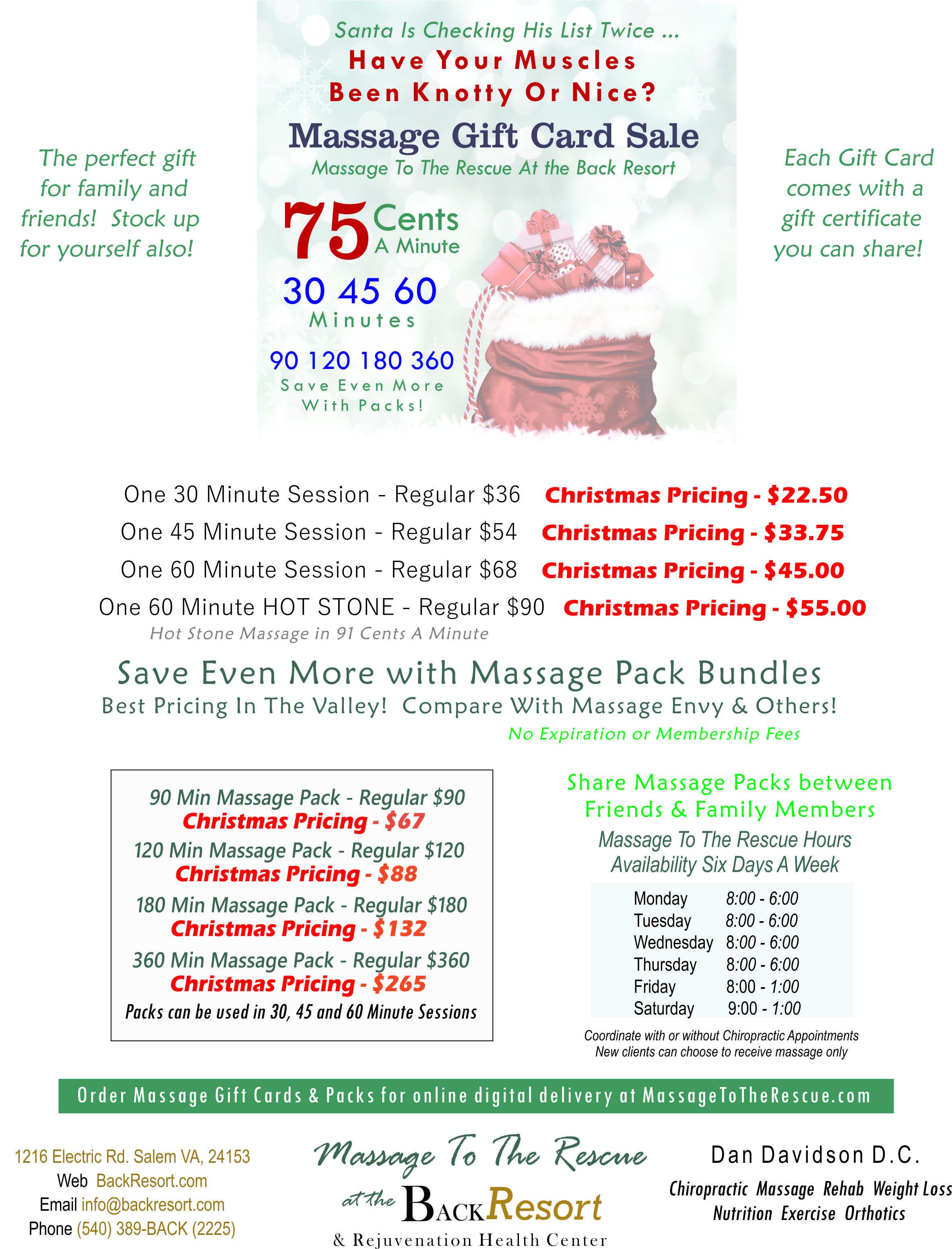 Salem Massage Gift Certificates | Back Resort