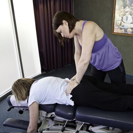 Adjusting womans back