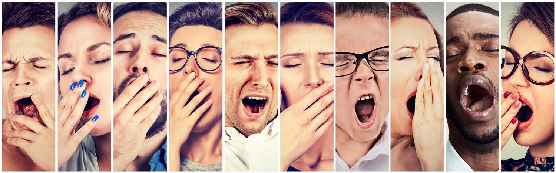 Multiethnic group of sleepy people women men yawning looking bor