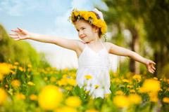 Girls in flower field