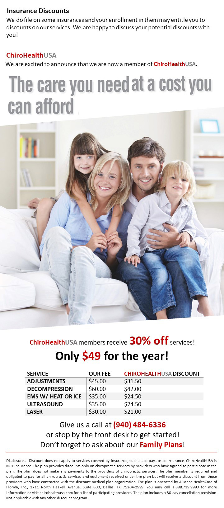 Insurance discount flyer