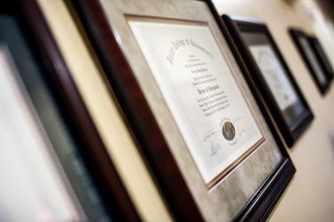 Diplomas on wall