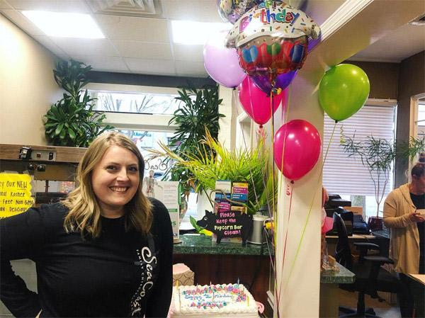 Leeann and her birthday balloons