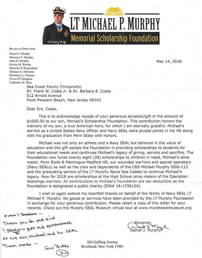 Memorial Scholarship Letter