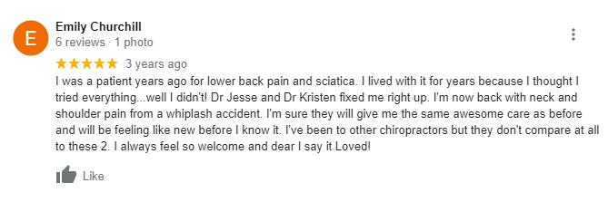 Emily google review Jesse O. Scharnweber D.C. Cristin R. Scharnweber D.C.