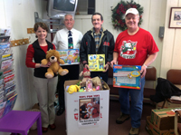 2012 Toys for Toys annual collection (Dr. Z, Lynn, Salvation Army volunteers)