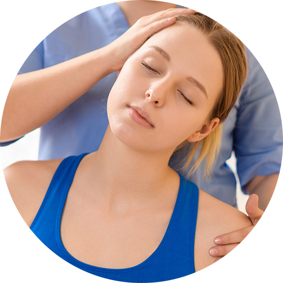 woman getting neck adjustment