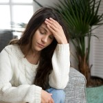 Frustrated Tired Young Woman Feeling Strong Headache Touching Fo