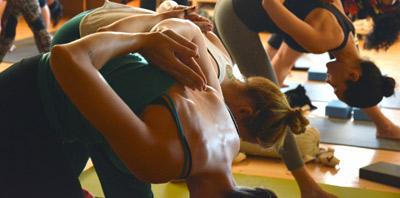 Women doing yoga class