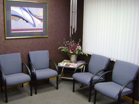 {PJ} Chiropractic reception room.