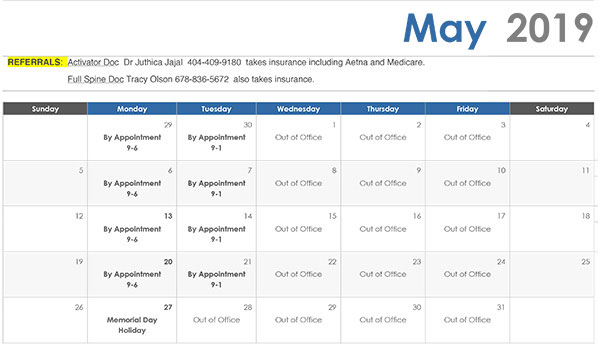May calendar of hours